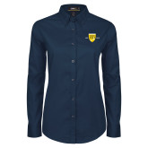 College Ladies Navy Twill Button Down Long Sleeve-Sesqui Crest Dates