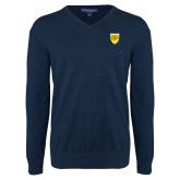 College Classic Mens V Neck Navy Sweater-Sesqui Crest