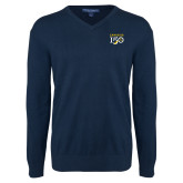 College Classic Mens V Neck Navy Sweater-Sesqui Text