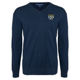 College Classic Mens V Neck Navy Sweater-Sesqui Crest Dates