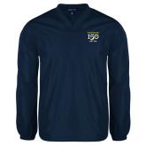 College V Neck Navy Raglan Windshirt-Sesqui Crest Dates