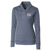 College Ladies Cutter & Buck Shoreline Navy 1/2 Zip-Sesqui Text