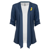College Ladies Navy Drape Front Cardigan-Sesqui Crest