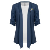 College Ladies Navy Drape Front Cardigan-Sesqui Text