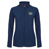 College Ladies Fleece Full Zip Navy Jacket-Sesqui Text