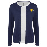 College Ladies Navy Cardigan-Sesqui Crest Dates