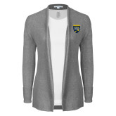 College Ladies Heather Grey Open Front Cardigan-Sesqui Crest