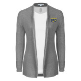 College Ladies Heather Grey Open Front Cardigan-Sesqui Text