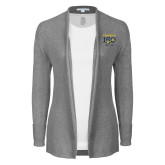 College Ladies Heather Grey Open Front Cardigan-Sesqui Crest Dates