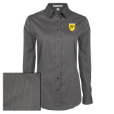 College Ladies Grey Tonal Pattern Long Sleeve Shirt-Sesqui Crest