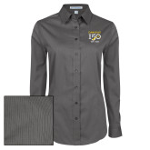 College Ladies Grey Tonal Pattern Long Sleeve Shirt-Sesqui Crest Dates