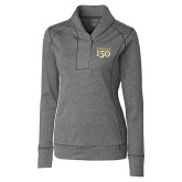 College Ladies Cutter & Buck Shoreline Charcoal 1/2 Zip-Sesqui Text