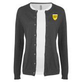 College Ladies Charcoal Cardigan-Sesqui Crest