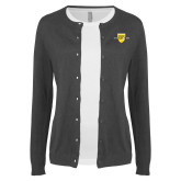 College Ladies Charcoal Cardigan-Sesqui Crest Dates