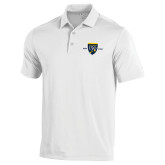 College Under Armour White Performance Polo-Sesqui Crest Dates