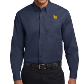 Navy Twill Button Down Long Sleeve-Canisius w/ Griff Stacked