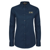 Ladies Navy Twill Button Down Long Sleeve-Griffs Wordmark