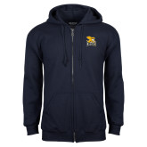 Navy Fleece Full Zip Hoodie-Canisius w/ Griff Stacked