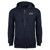 Navy Fleece Full Zip Hoodie-Griffs Wordmark