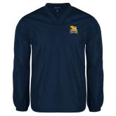 V Neck Navy Raglan Windshirt-Canisius w/ Griff Stacked