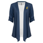 Ladies Navy Drape Front Cardigan-Griffs w/ Griff Stacked