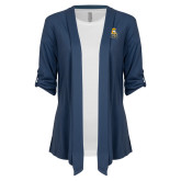 Ladies Navy Drape Front Cardigan-Canisius w/ Griff Stacked