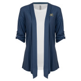 Ladies Navy Drape Front Cardigan-Griffs Wordmark