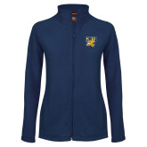 Ladies Fleece Full Zip Navy Jacket-Griffs w/ Griff Stacked