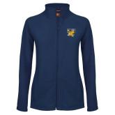 Ladies Fleece Full Zip Navy Jacket-Griffs w/ Griff Stacked