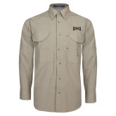 Khaki Long Sleeve Performance Fishing Shirt-Griffs Wordmark