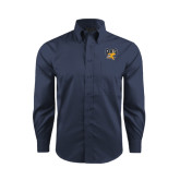 Red House Deep Blue Herringbone Long Sleeve Shirt-Griffs w/ Griff Stacked