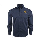 Red House Deep Blue Herringbone Long Sleeve Shirt-Canisius w/ Griff Stacked