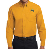 Gold Twill Button Down Long Sleeve-Canisius w/ Griff Stacked