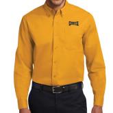 Gold Twill Button Down Long Sleeve-Griffs Wordmark