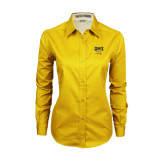 Ladies Gold Twill Button Down Long Sleeve-Griffs w/ Griff Stacked