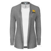 Ladies Heather Grey Open Front Cardigan-Canisius w/ Griff Stacked