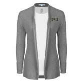 Ladies Heather Grey Open Front Cardigan-Griffs Wordmark