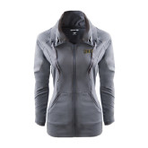 Ladies Sport Wick Stretch Full Zip Charcoal Jacket-Griffs Wordmark