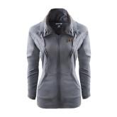 Ladies Sport Wick Stretch Full Zip Charcoal Jacket-Griffs Wordmark