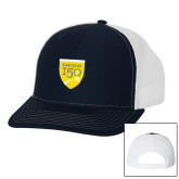 College Richardson Navy/White Trucker Hat-Sesqui Crest