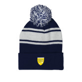 College Navy/White Two Tone Knit Pom Beanie w/Cuff-Sesqui Crest