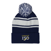 College Navy/White Two Tone Knit Pom Beanie w/Cuff-Sesqui Text