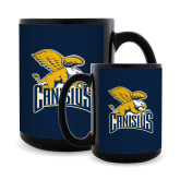 Full Color Black Mug 15oz-Canisius w/ Griff Stacked