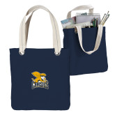 Allie Navy Canvas Tote-Canisius w/ Griff Stacked