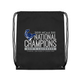 Black Drawstring Backpack-2019 Mens Lacrosse NCAA DIII Champions