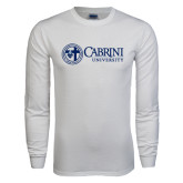 White Long Sleeve T Shirt-Cabrini University Mark