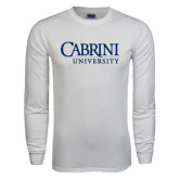 White Long Sleeve T Shirt-Cabrini University Stacked