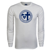 White Long Sleeve T Shirt-Cabrini University Seal