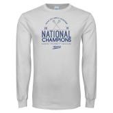 White Long Sleeve T Shirt-2019 National Mens Lacrosse Champions