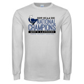 White Long Sleeve T Shirt-2019 Mens Lacrosse NCAA DIII Champions